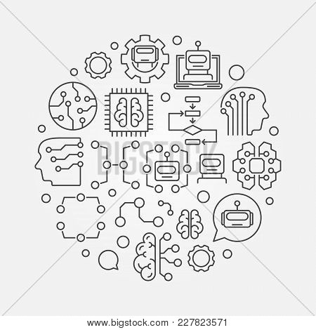 Machine Learning Circular Vector Concept Technology Illustration In Outline Style