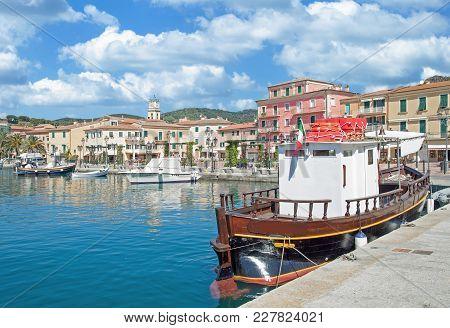 Harbor Of Porto Azzurro On Island Of Elba,tuscany,mediterranean Sea,italy