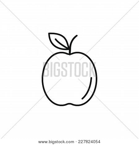 Apple Icon In Outline Style. Vector Illustration With Apple Isolated On White Background. Outline Fr