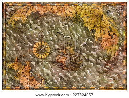 Old Historical Map With Pirate Ship, Compass, Sea And Islands. Pirate Adventures, Treasure Hunt And