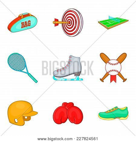 Exercise Icons Set. Cartoon Set Of 9 Exercise Vector Icons For Web Isolated On White Background