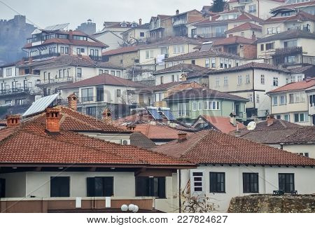 Old Houses Located In The Old Part Of Ohrid City In Macedonia