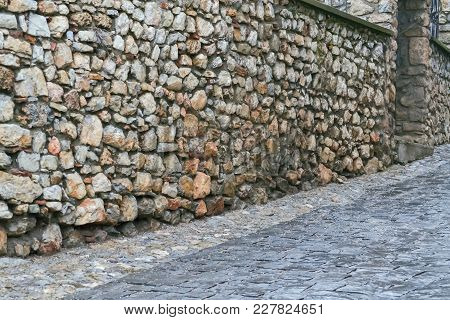 Detail Of A Pavement And Stone Wall In Ohrid