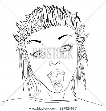 Stamp With Lsd Drug On Tongue Pop Art Retro Vector Illustration. Acid Narcotic. Image, Teen Girl, Pi