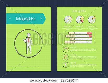 Infographics And Start Up Offer, Posters With Headline And Text Samples, Human In Circle, And Diagra