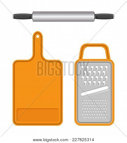 Set Of Kitchen Equipment Isolated On White Field, Vector Illustration With Templates Of Grater With