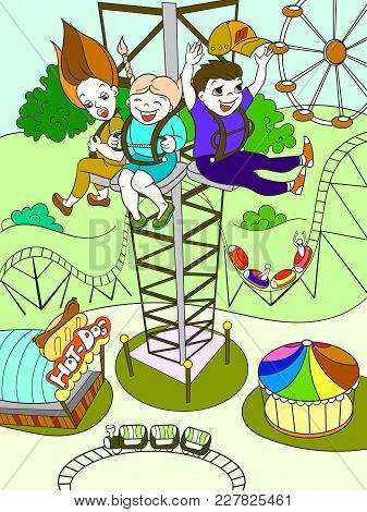 Tower Ride, Tallest Amusement Attraction. Thrill From A Free Fall From This Tower. Childrens Color B
