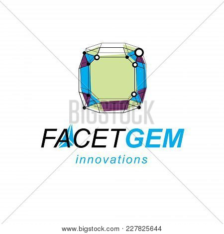 Innovation Technologies Emblem. Vector Abstract 3d Geometric Shape, Polygonal Figure, Illustration.