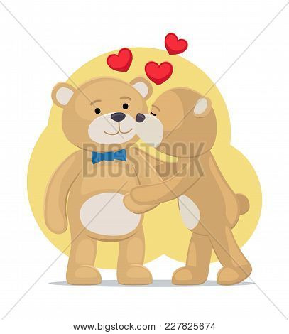 Teddy Bears Couple, Female Kisses Male In Cheek, Hearts Above Them, Vector Illustration Of Merry Lov