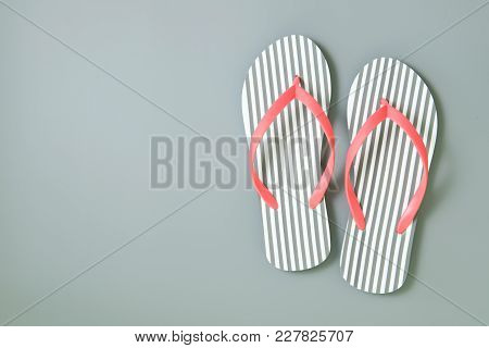 Stripe Flip Flops Isolated On White Background