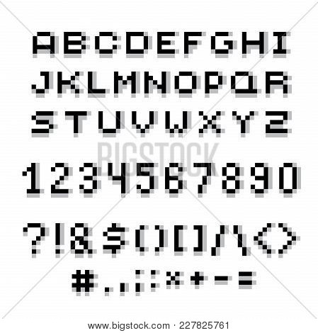 Vector Modern Numbers, Letters And Punctuation Marks Created In Technology Style. Geometric Pixilate