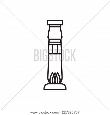 Egyptian Column Icon In Line Style. Egypt Column Object Vector Illustration Isolated On White Backgr