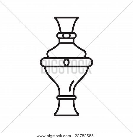 Egyptian Jar Icon In Line Style. Egypt Jar Object Vector Illustration Isolated On White Background.