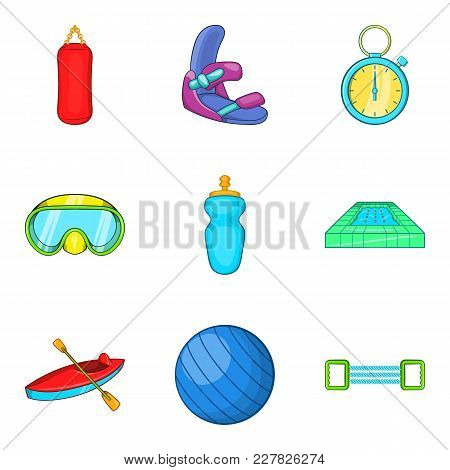 Sporting Event Icons Set. Cartoon Set Of 9 Sporting Event Vector Icons For Web Isolated On White Bac