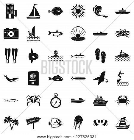 Oceanic Icons Set. Simple Set Of 36 Oceanic Vector Icons For Web Isolated On White Background