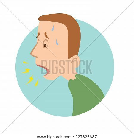 Young Man Coughing, Shortness Of Breath, Sickness Icon. Vector Flat Illustration, Isolated On White