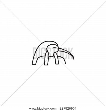 Egyptian God Tot Icon In Line Style. Egypt God Tot Object Vector Illustration Isolated On White Back