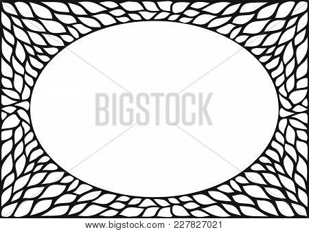 Oval Cover Frame With Natural Plant Texture. Skeleton. Vintage Black And White Photo Frame Backgroun