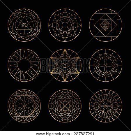 Esoteric Geometric Gold Pentagrams. Spiritual Sacred Mystical Vector Symbols. On Black Background. E