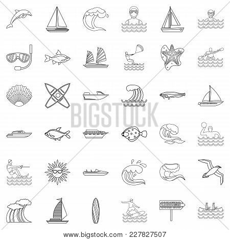 Water Supply Icons Set. Outline Set Of 36 Water Supply Vector Icons For Web Isolated On White Backgr