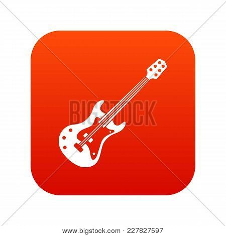 Classical Electric Guitar Icon Digital Red For Any Design Isolated On White Vector Illustration