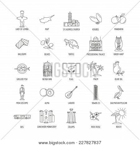 Set Of Cyprus Symbols And Landmarks. Outline Vector Illustrations. Cyprus Country Symbols Map, Churc