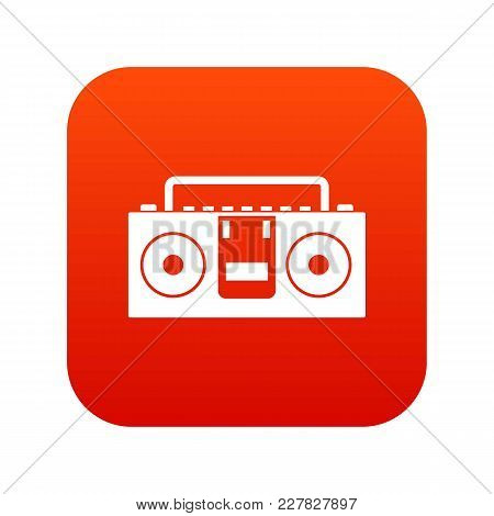 Vintage Tape Recorder For Audio Cassettes Icon Digital Red For Any Design Isolated On White Vector I