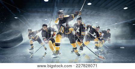 Decisive Throw Of The Puck And Goal. Collage About Ice Hockey Players In Action On Ice. Male Profess