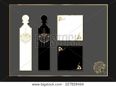 Laser Cut With Wedding Golden Set Of Ornate Cards. Luxury Template For Greeting Card ,wedding, Invit