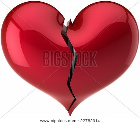 Red heart shape broken