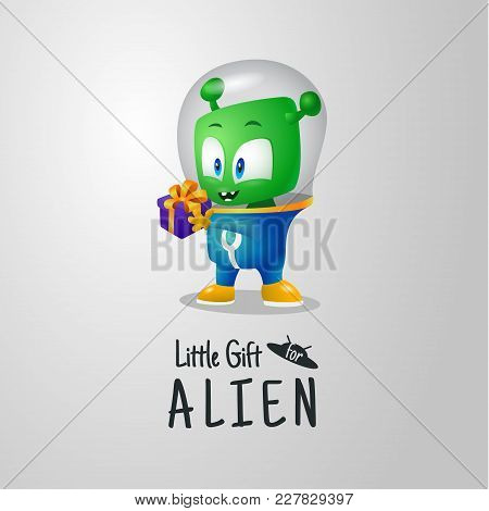 A Small Happy Martian Received An Earthly Gift For The Holiday