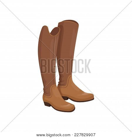 Brown Leather Horseman Boots, Equestrian Professional Sport Element Vector Illustration On A White B
