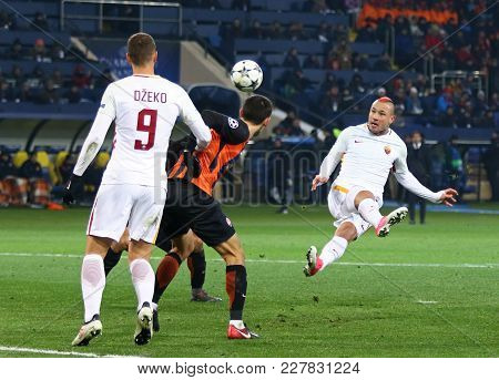 Kharkiv, Ukraine - February 21, 2018: Radja Nainggolan Of As Roma (r) Kicks A Ball During Uefa Champ