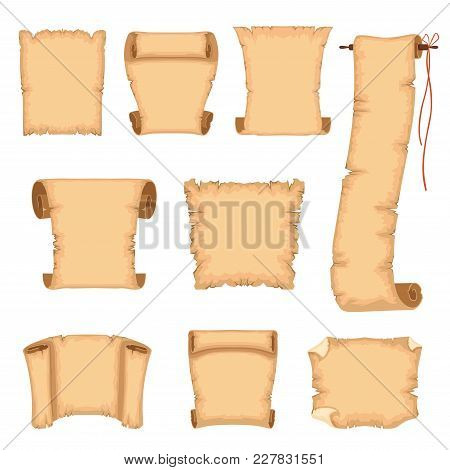 Ancient Paper Scrolls Set, Ancient Parchments Vector Illustrations Isolated On A White Background.