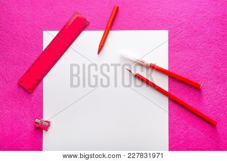 Red Pencil With Pencil Sharpener, Ruler And Felt Pen On White Paper Sheet. Flat Design. Stationery.