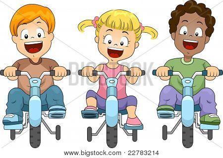 Illustration of Kids Biking