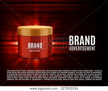 Cosmetic Ads Template. Cosmetic Contaainer On A Glowing Background With Geometric Elements. Design F