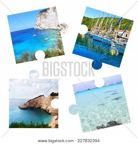 Photo Collage With Ionian Islands In Puzzle Pieces - Paxos, Ithaca, Lefkada, Antipaxos Islands