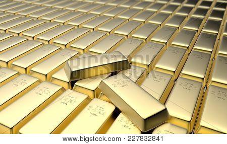 3d Rendering Of 24 Karat Gold Bars In A Vault