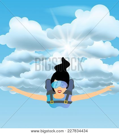 Skydiver Woman Flying In The Blue Cloudy Sky. Vector Female Character Illustration In Flat Style. Sk