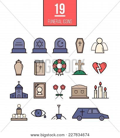 Ritual Line Style Vector Icons. Funeral Objects Set