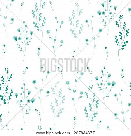 Seamless Pattern With Herbs. A Variety Of Fictional Grass Green Colors On A White Background. Vector