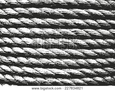 Distressed Overlay Rope Texture Of Weaving Fabric. Grunge Background. Abstract Halftone Vector Illus