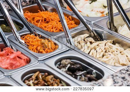 Pickled Vegetables On Self Service Restaurant Counter Or Shop Counter