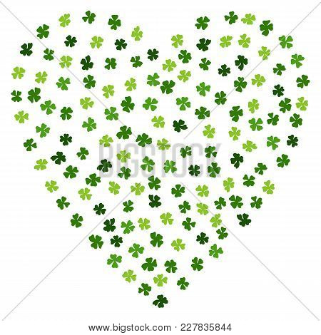 Green Clovers Heart For St. Patrick's Day. Irish Clover Laef. Typographic Design For St. Patrick Day