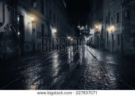 Rainy Night In Old European Dark City