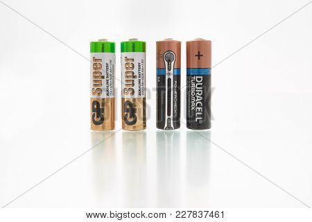 Gomel, Belarus - February 22, 2018: Alkaline Batteries Lr6 From Duracell And Gp.