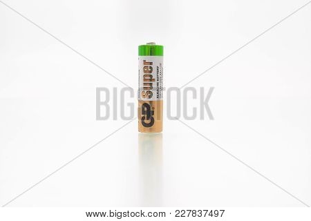 Gomel, Belarus - February 22, 2018: Alkaline Batteries Lr6 From Gp