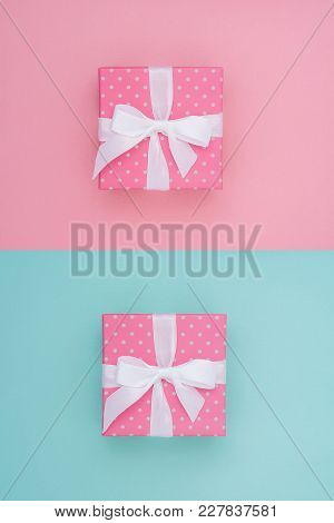Wrapped Gift Box. Collage. Pastel Colour Flat Lay Minimal Concept.