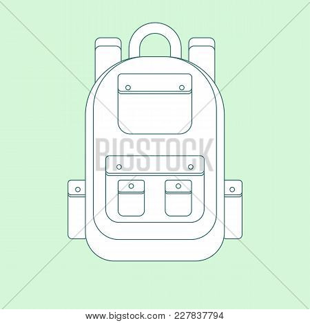 Backpack Flat Icon. Single High Quality Outline Symbol Of Camping For Web Design Or Mobile App. Thin